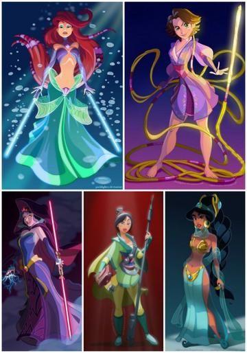 Diferentes transformaciones de las Princesas Disne