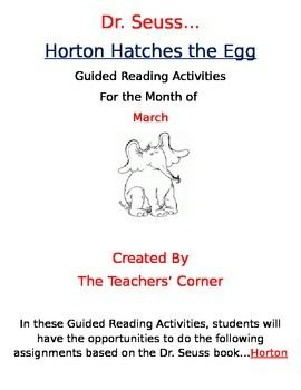 Dr Seuss Guided Reading Activities Horton Hatches The E