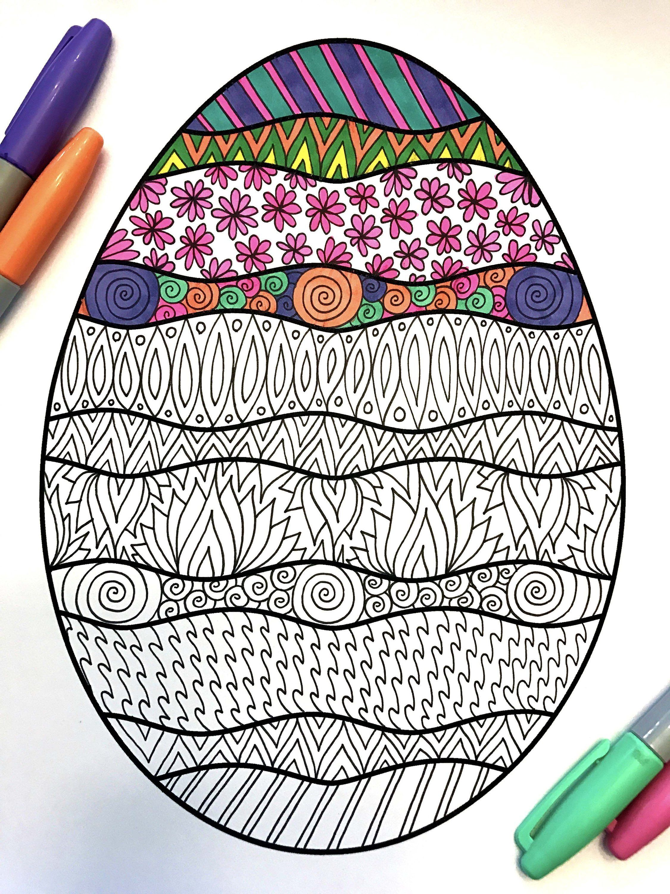 Wavy Easter Egg PDF Zentangle Coloring Page Coloring