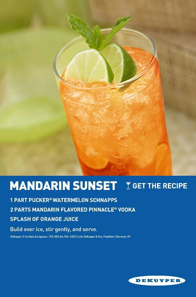 Mandarin Sunset With Images Sunset Drink Recipe Food And Drink Recipes