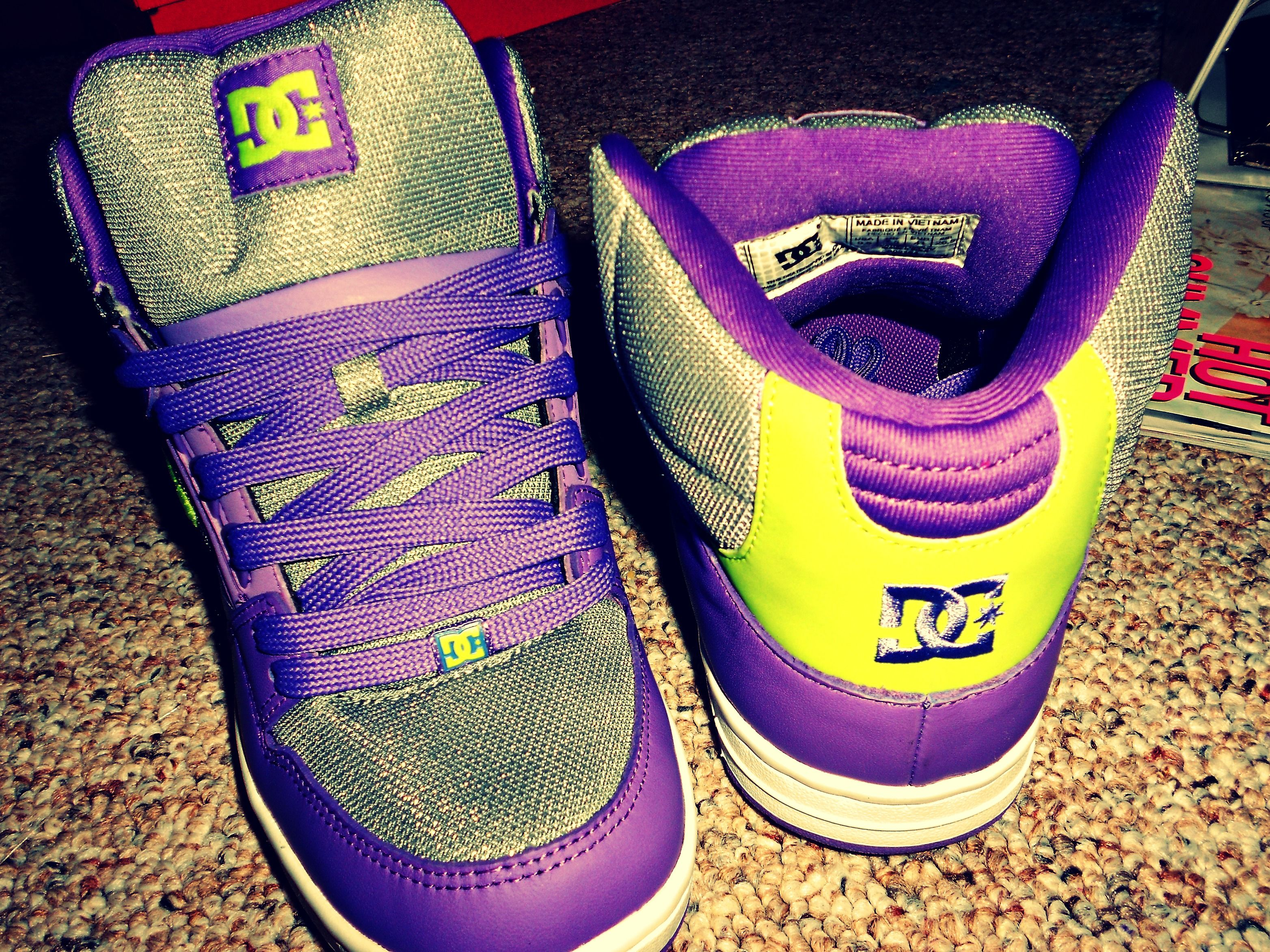 ac48db097c9 Purple and Lime Green DC High Tops!!!