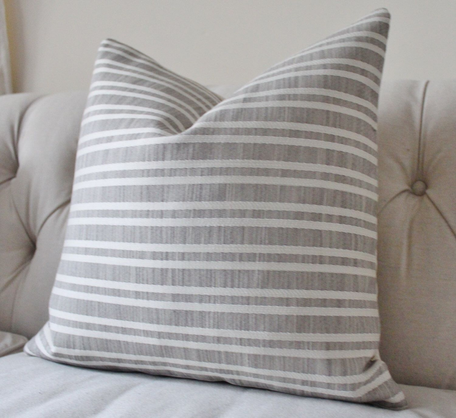 Grey Outdoor Pillow Cover - Soho Stripe Cement Pillow Covers ...