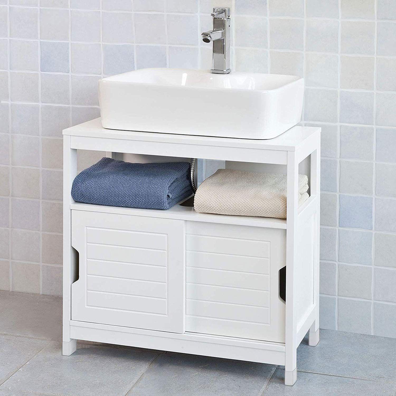 Sobuy Frg128 W Waschbeckenunterschrank Badmobel Badschrank Mit Fusspolster Waschtisch Unters Waschbeckenunterschrank Badschrank Badezimmer Aufbewahrungssysteme