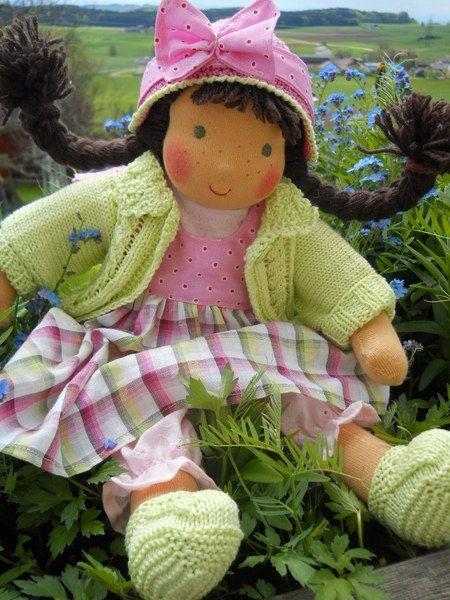 Handmade doll, made of Schweizer Trikotstoff 100 % Cotton,   stuffed with pure Sheepwool   hair made of mohair-wool, different hairstyles pos...