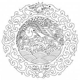 Asiatische Motive Asian Design Malvorlage Auf Keilrahmen Mandala 144 Chinesisches Muster Stickereimuster Mandala Ausmalen