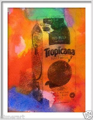 Tropicana Orange Juice Pop Art Watercolor Painting