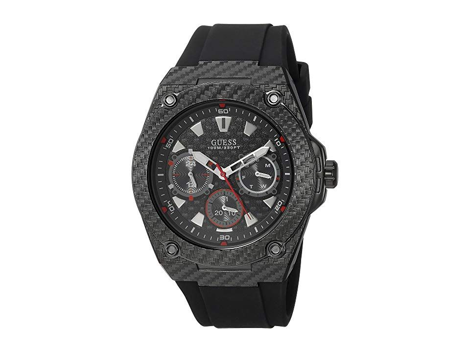 GUESS U1048G2 Black Watches Give your outfit a sleek look with the modern touches of this Guess watch Stainless steel case Silicone strap with adjustable buckle closure R...