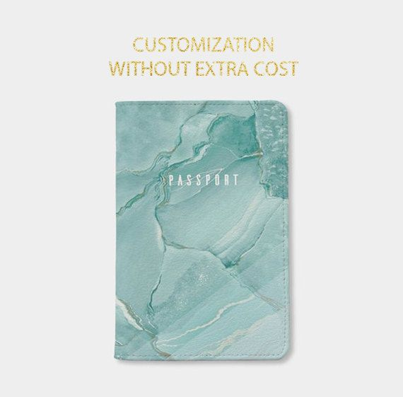 Marble passport holderpersonalized passport by WanderlustCover