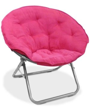 Arron Microsuede Saucer Chair Quick Ship Pink Leather
