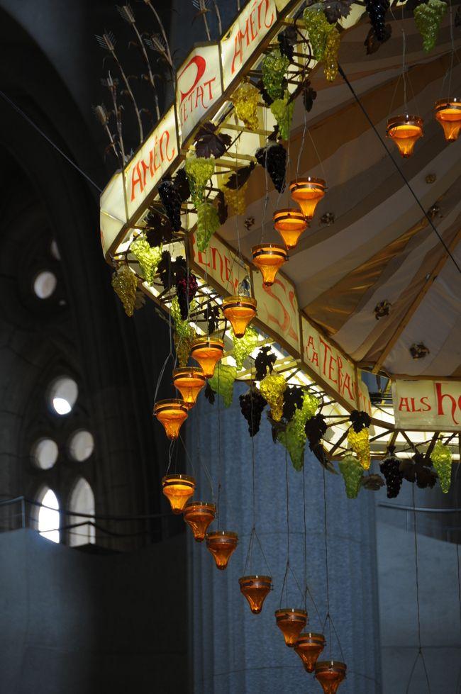 Candle chandelier inside the Sagrada Familia in beautiful Barcelona
