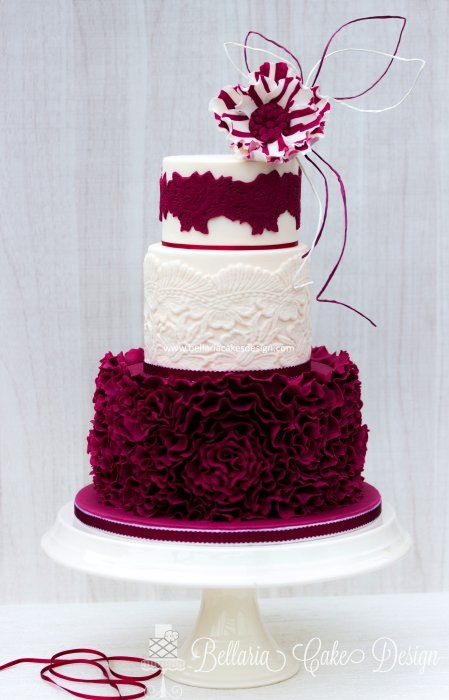 Burgundy And White Ruffle Cake With Lace And Candy Stripe
