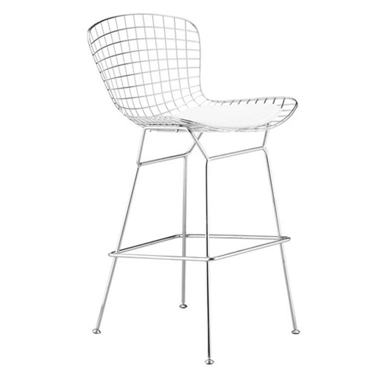 Wire Counter Stool In White