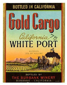 POSTER A3 Wine label, The Burbank Winery, California White Port