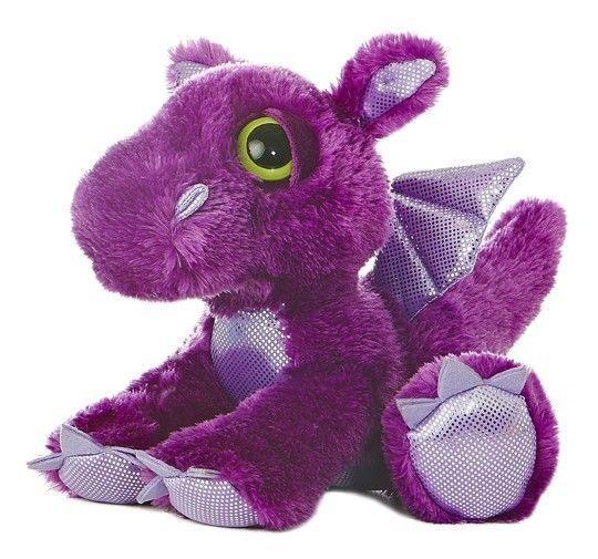 "10"" Aurora Plush Purple Dragon ""Flame"" Dreamy Eyes Flopsie Stuffed Animal Toy #Aurora"