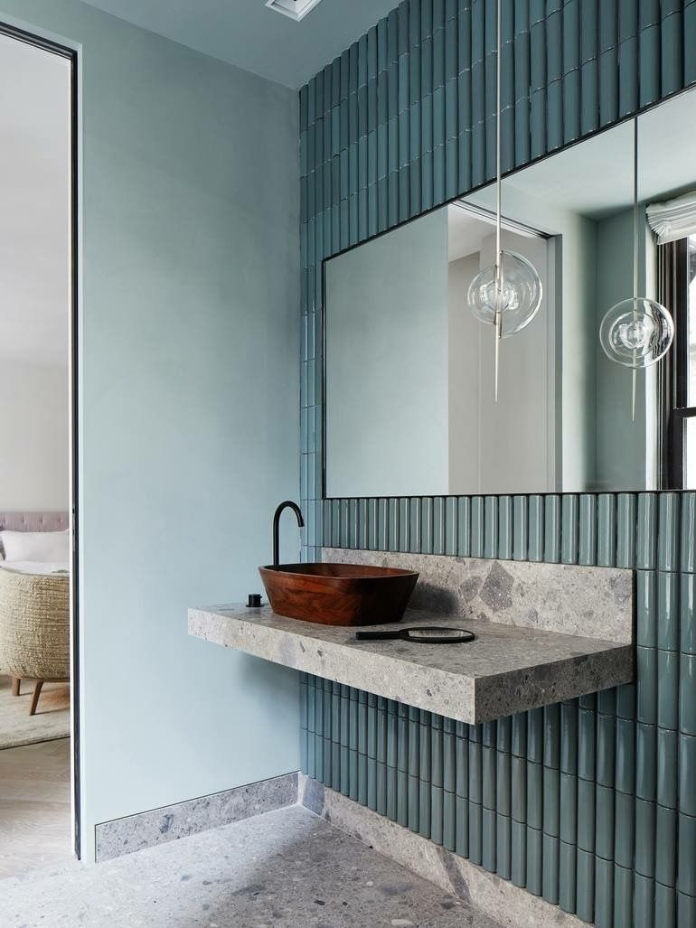 Pretty muted teal bathroom tile | i n t é r i e u r | Pinterest ...