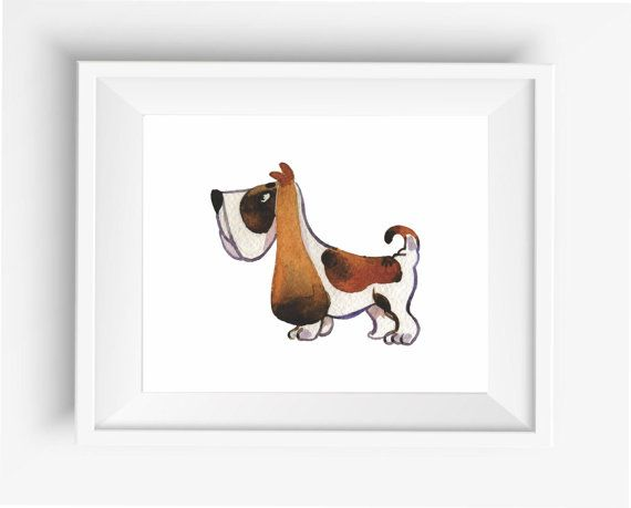 Watercolor dogs,Basset Hound prints,Cute Dog Print,Puppy,Puppy watercolor,Pet…
