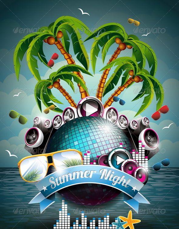Summer Beach Party Flyer Design with Disco Ball | Summer beach ...