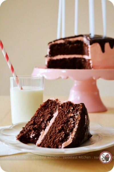 dark chocolate and strawberry buttercream cake Sweets Pinterest