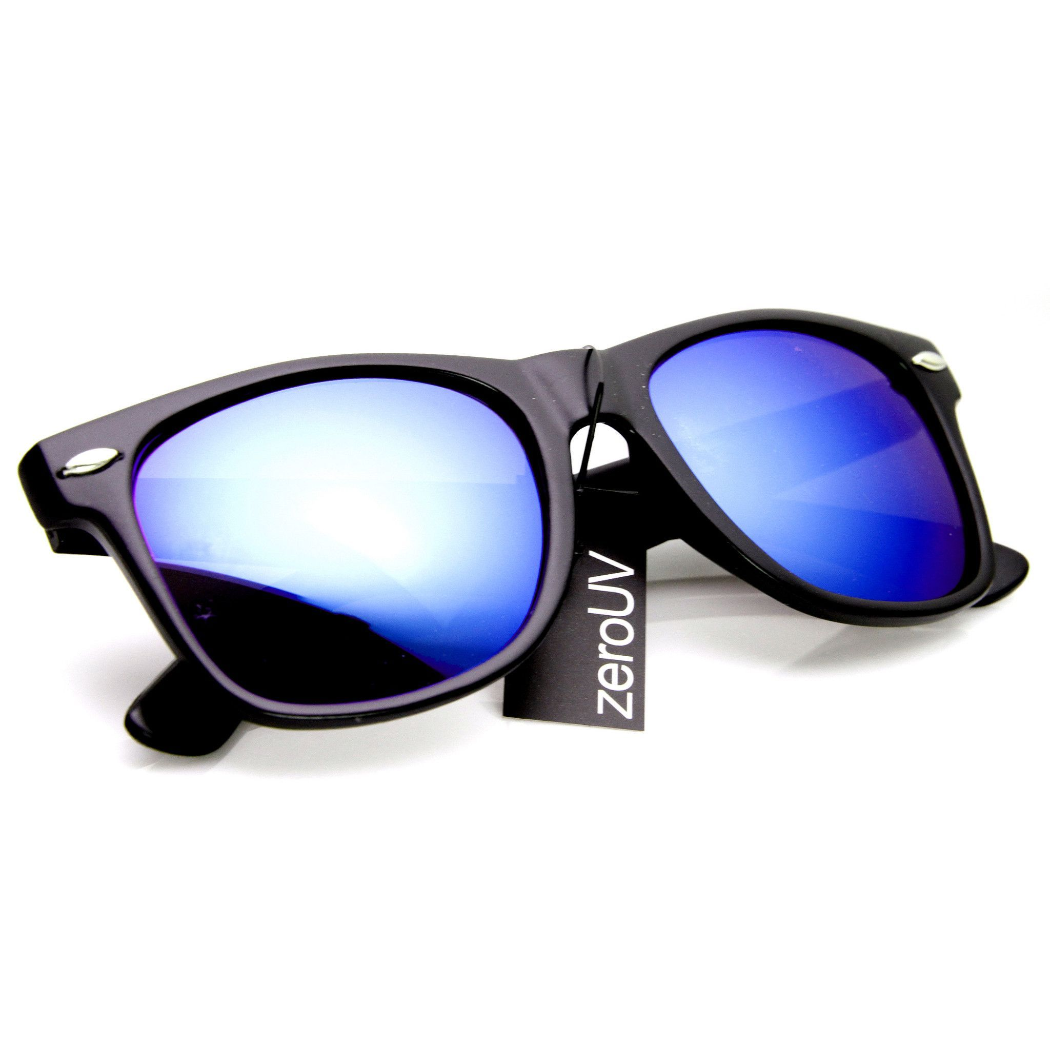 fe494e810c Retro Matte Black Horned Rim Flash Colored Lens Sunglasses 8025 ...