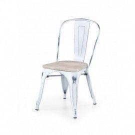 Lot de 2 chaises salle à manger industrielle en métal blanc vieilli ...