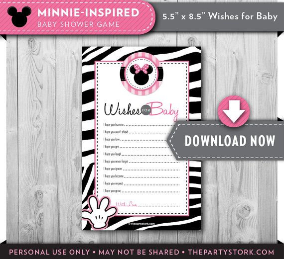 Minnie Mouse Zebra Print Baby Shower: Wishes For Baby Printable Card