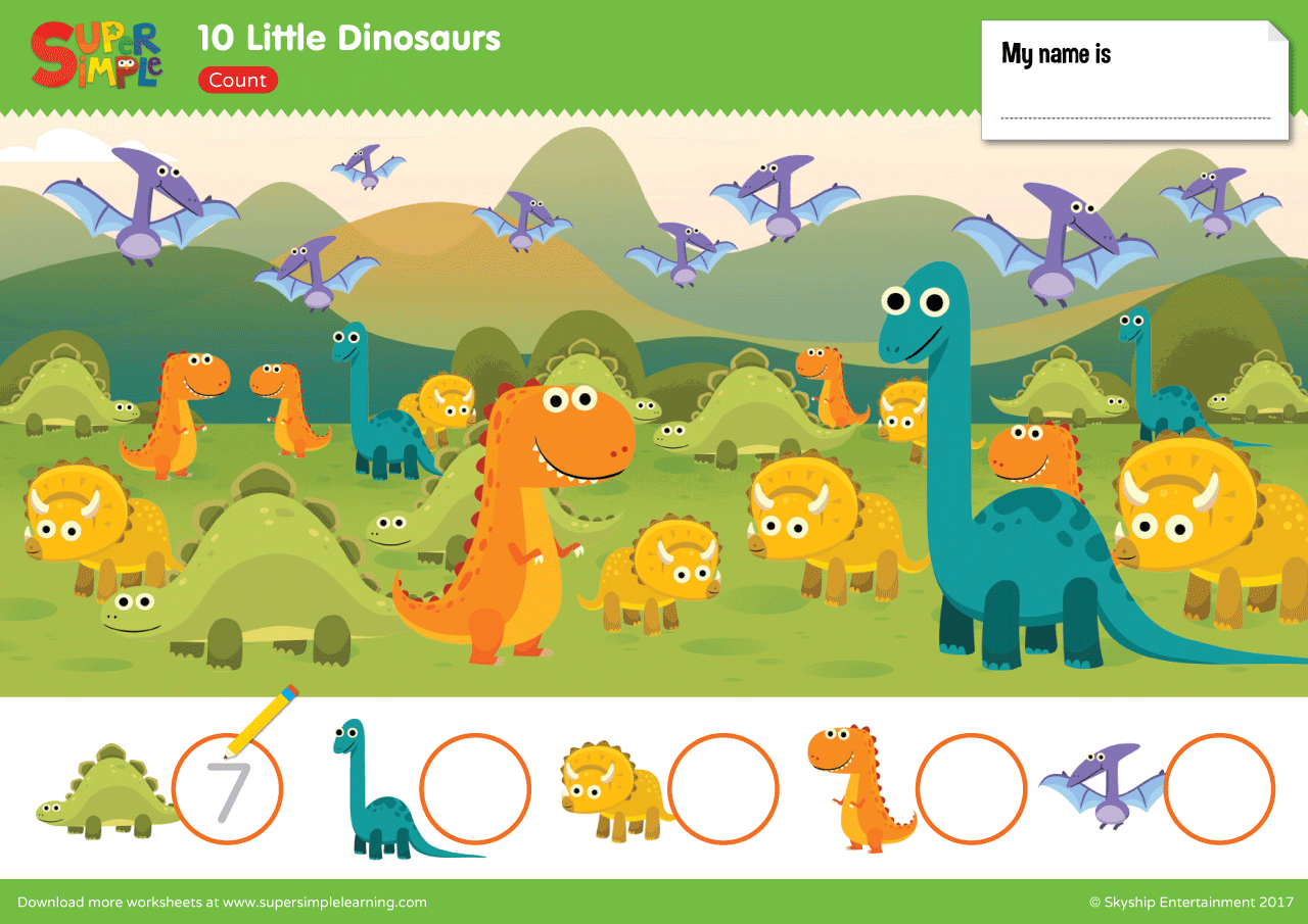 10 Little Dinosaurs Worksheet