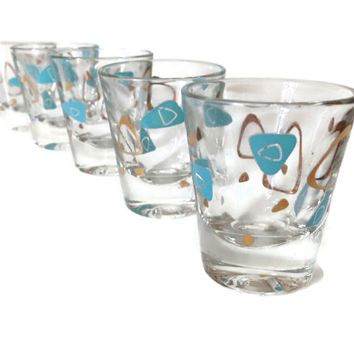 Atomic Barware Mid Century Shot Gles Tail Turquoise And Gold Modern Set Of Home Decor
