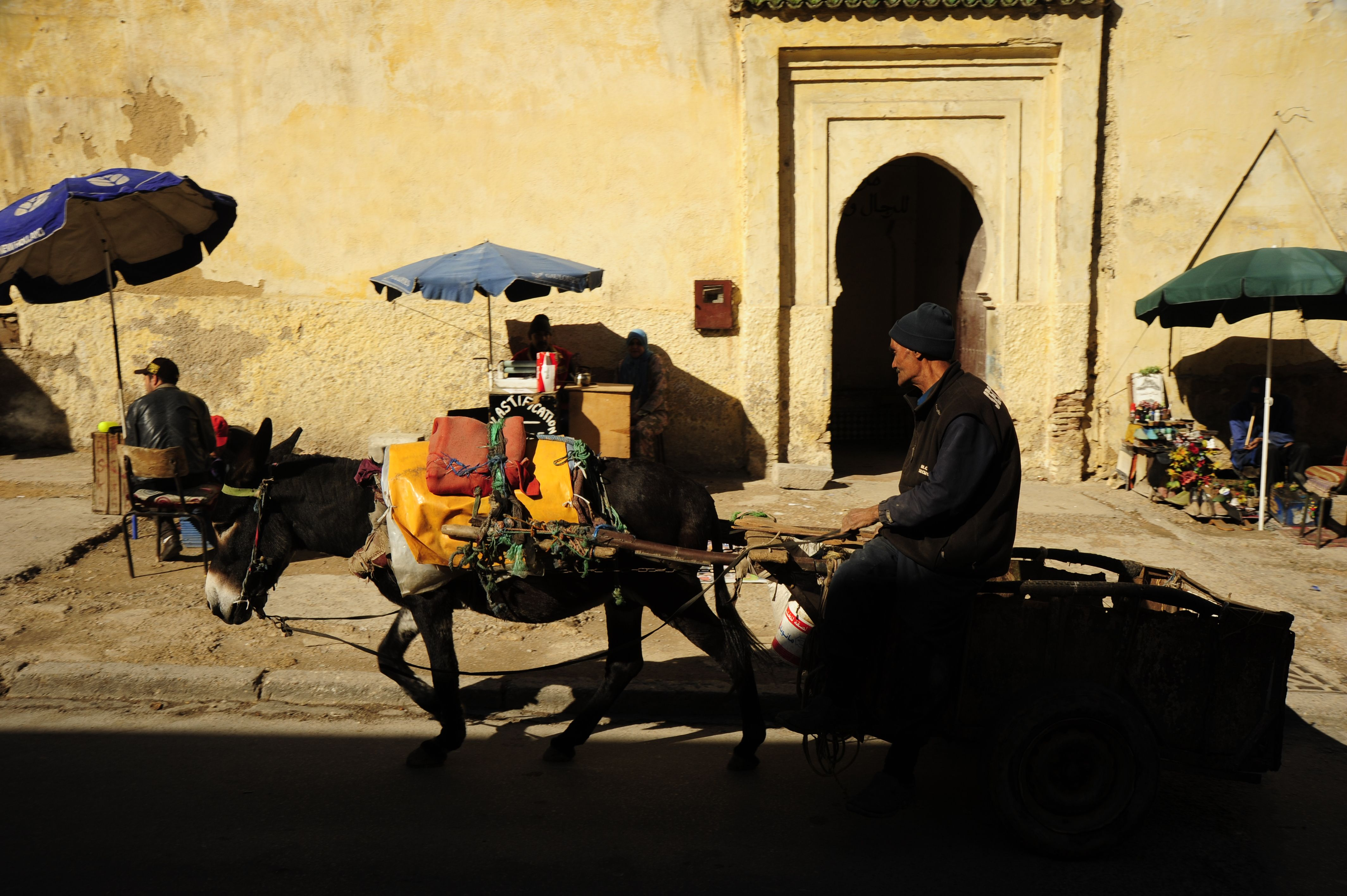 """Heading into the Fez medina; the largest auto-free area in the world. When you hear """"Belek, Belek!"""", there's a donkey trying to get by you. Photo courtesy of Jim See, AIA and Edith Cherry, FAIA."""