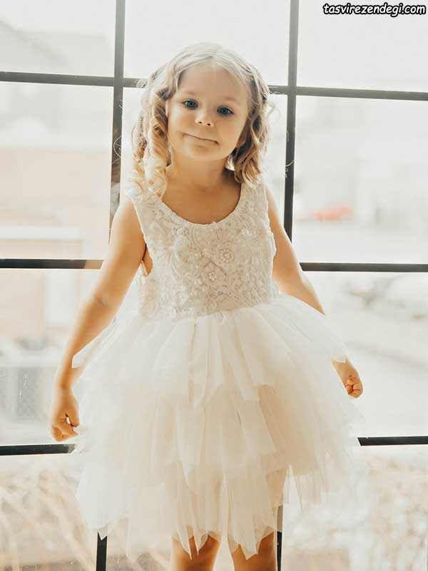 مدل لباس مجلسی پرنسسی سفید, لباس عروس بچگانه