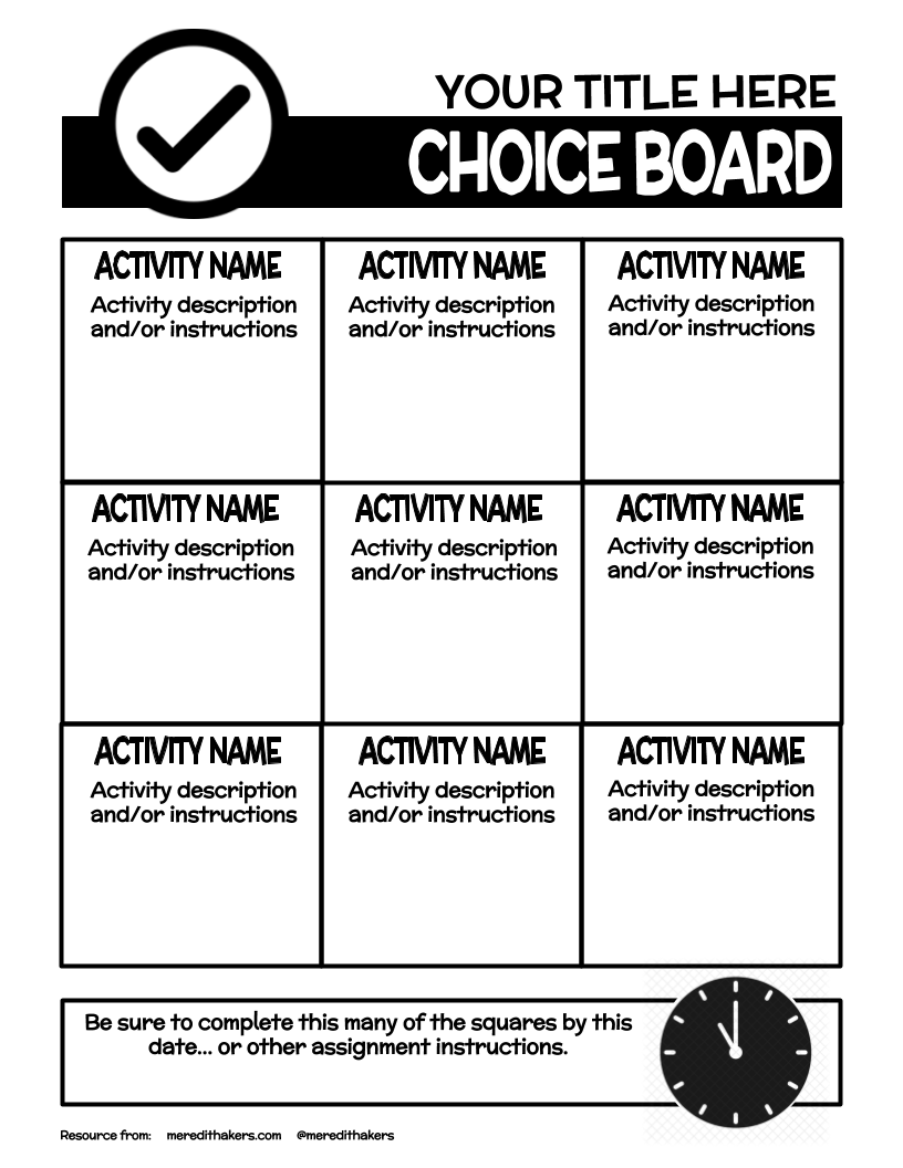 Super Bowl Squares Choice Board Meredith Akers Choice Boards Math Choice Boards Choice Boards Reading [ 1056 x 816 Pixel ]