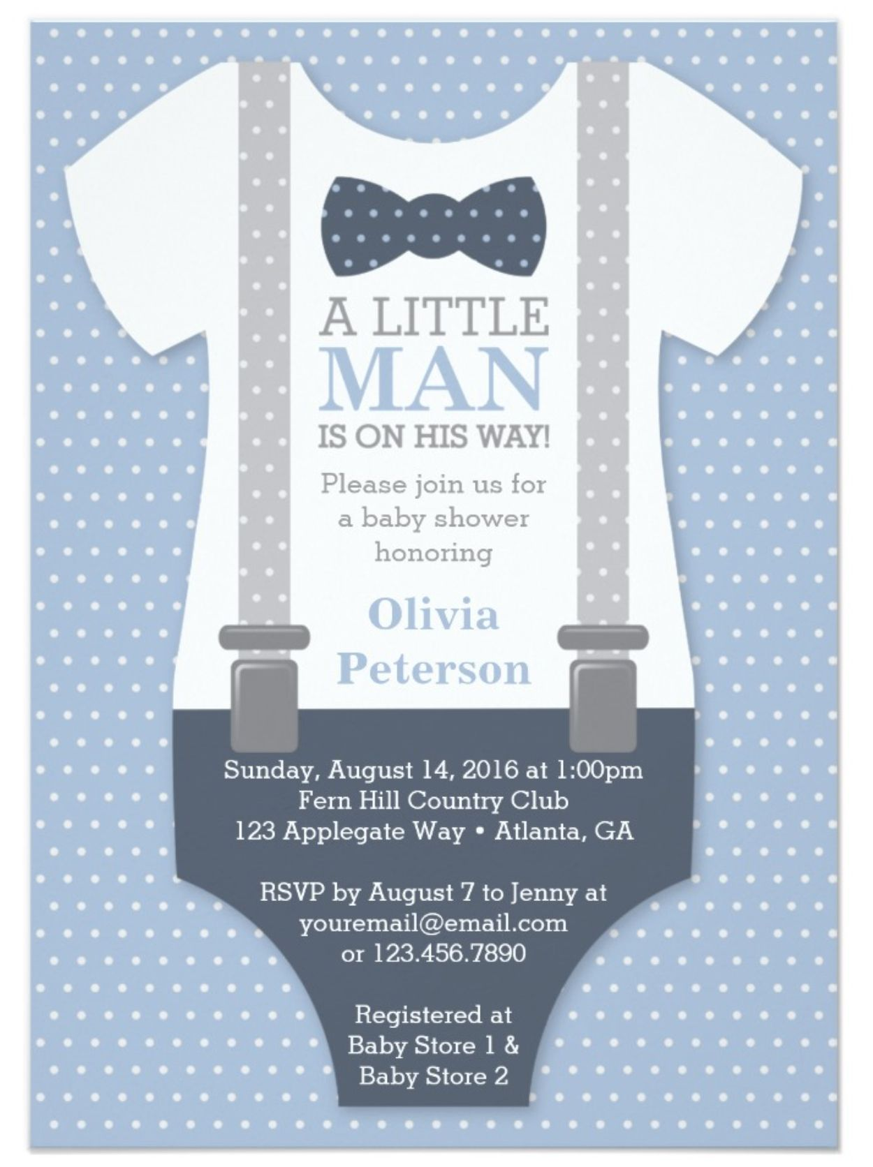 Little Man Baby Shower Invitation in Blue and Gray