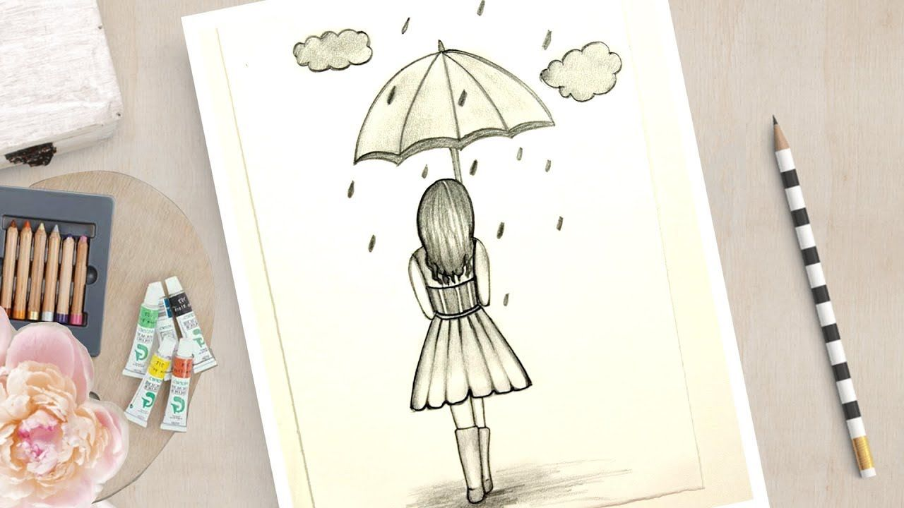 How To Draw A Girl With Umbrella Very Easy Easy Drawings Easy Drawings For Kids Umbrella Drawing