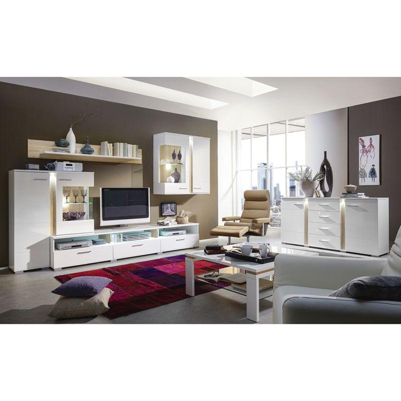 Wohnzimmer Set TOPSOS258 weiß Hochglanz, Absetzung Sonoma Eiche - wohnzimmer weis hochglanz