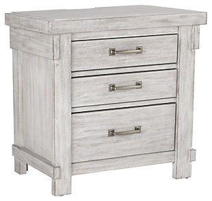 Best Brashland Queen Panel Bed Three Drawer Nightstand White 400 x 300