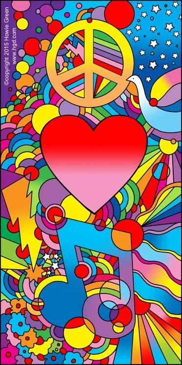 Peace Love Music Psychedelic Pop Art Peace Sign Art Hippie Art Peter Max Art