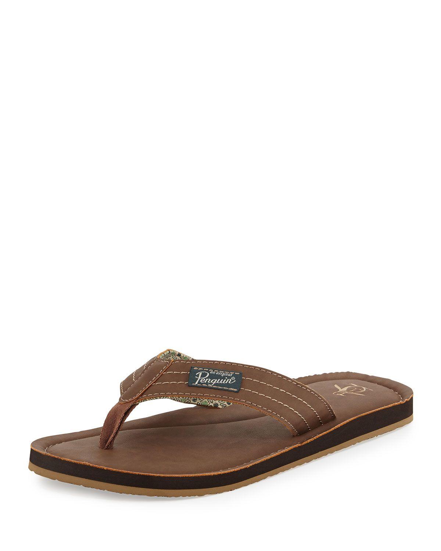 3358e42e94141a Original Penguin Tag Faux-Leather Thong Sandal
