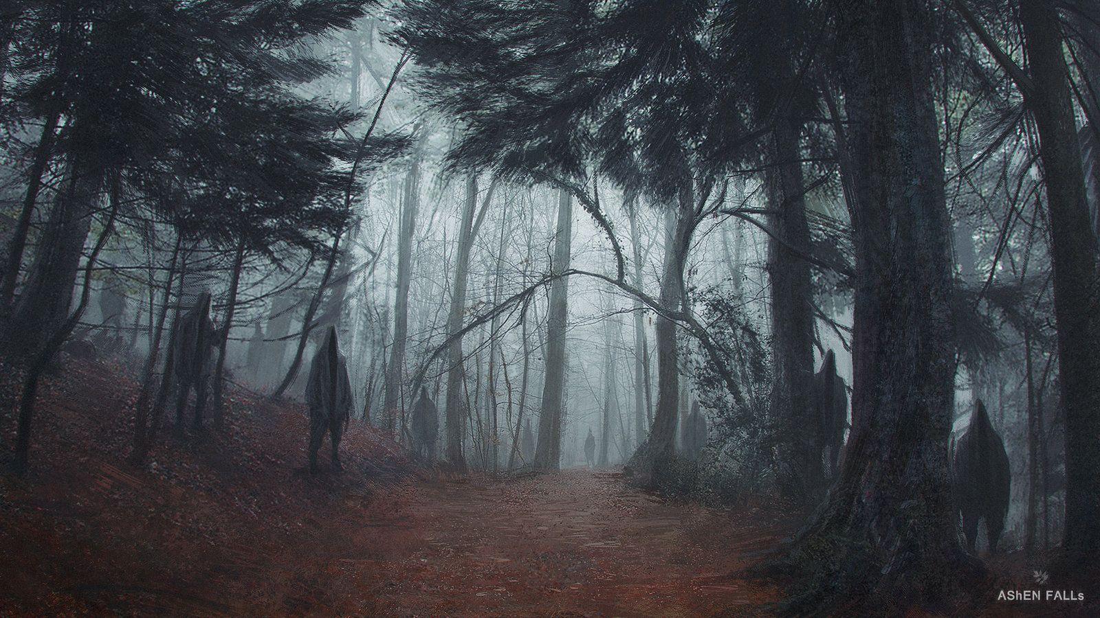 Ashen Falls - The Forest, Gilles Ketting on ArtStation at https://www.artstation.com/artwork/ashen-falls-the-forest