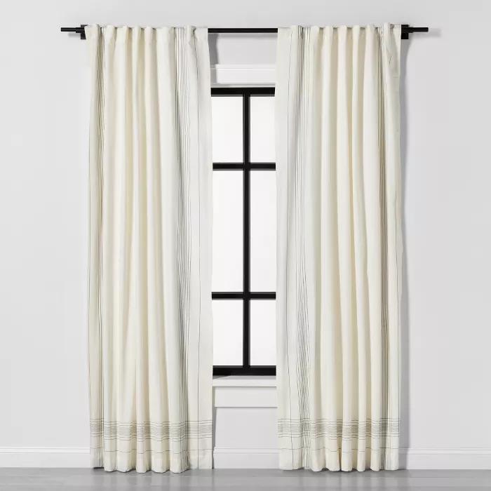 108 Curtain Panel Engineered Plaid Sour Cream Hearth Hand