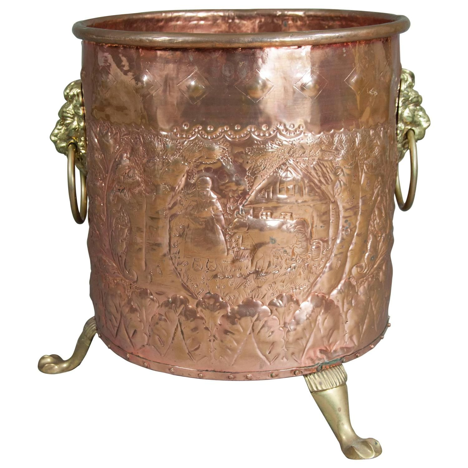 European Copper And Brass Fireplace Pail | From a unique collection of antique and modern planters and jardinieres at https://www.1stdibs.com/furniture/building-garden/planters-jardinieres/
