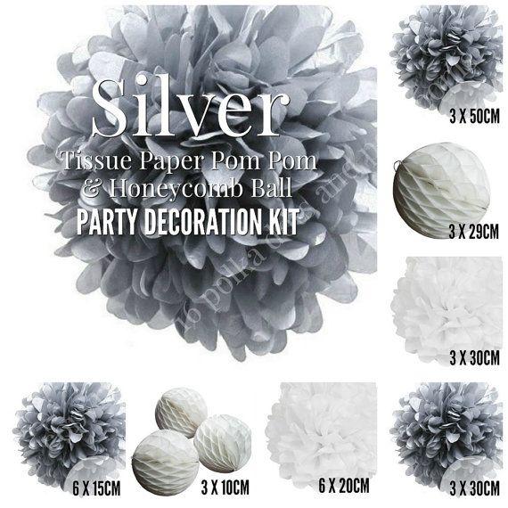 SILVER White WEDDING Decoration Kit Tissue Paper Pom Pom