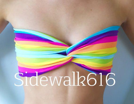 bikini Rainbow heart bandeau