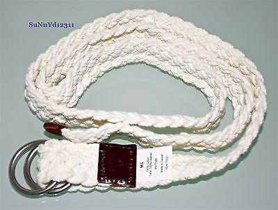 J-CREW-belt-white-cotton-woven-braided-nautical-leather-o-ring-belt-ivory-M-L