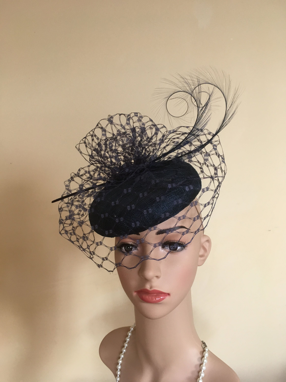 Navy Blue Royal Pill Box Hat Fascinator Hatinator Clip Ascot Races Weddings