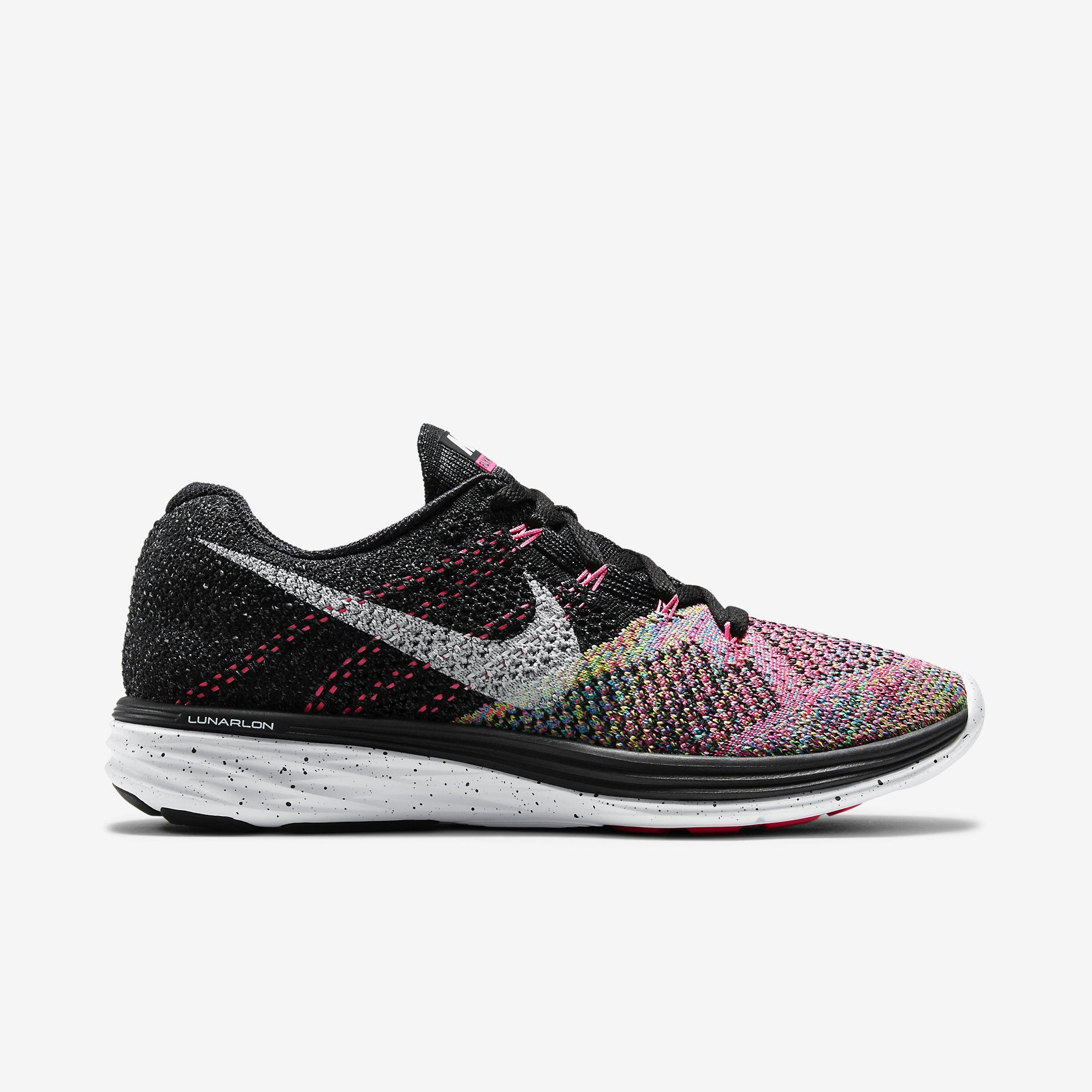 Nike's favorable multicolor design has been translated over to the latest  pair of Women's Flyknit Lunar 3 sneakers. The toecap of the shoe's woven  upper ...