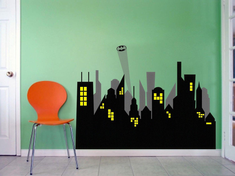 City Scape Batman Avengers Marvel Gotham Vinyl Wall Decal Sticker - Vinyl wall decals avengers