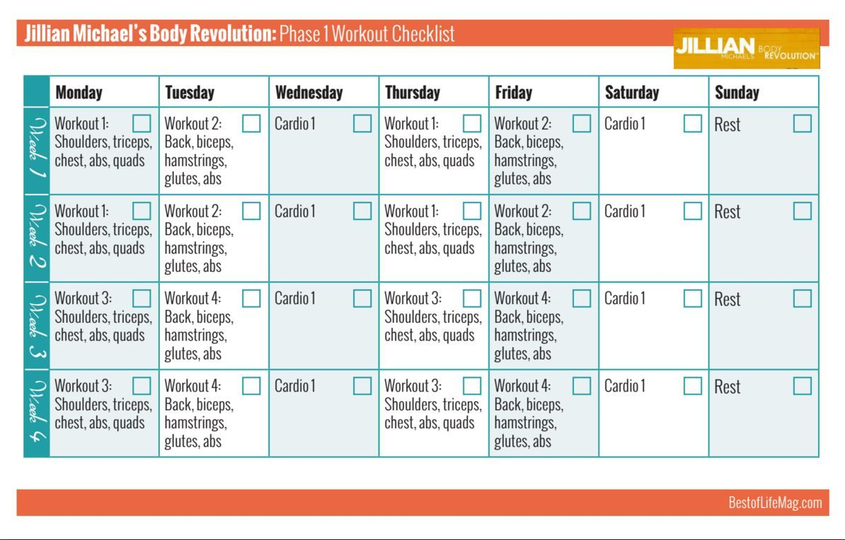 Jillian Michaels 30 Day Shred Workout Calendar Yourviewsite Co