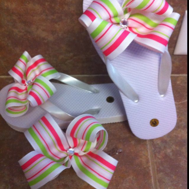 31ee7a3d01d1ed Bow flip flops with matching hair piece!
