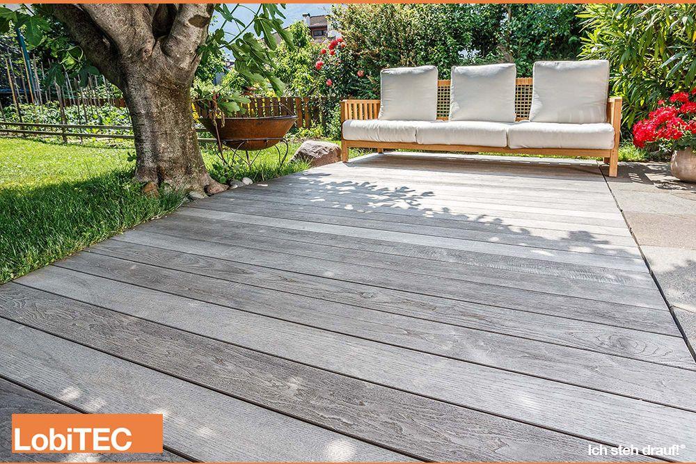 Holzterrasse vergraut LobiTEC Kontinental terasse Pinterest - bankirai terrasse verlegen vorteile