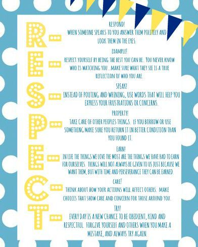 RESPECT Printable for your kids...what does respect mean to ME?