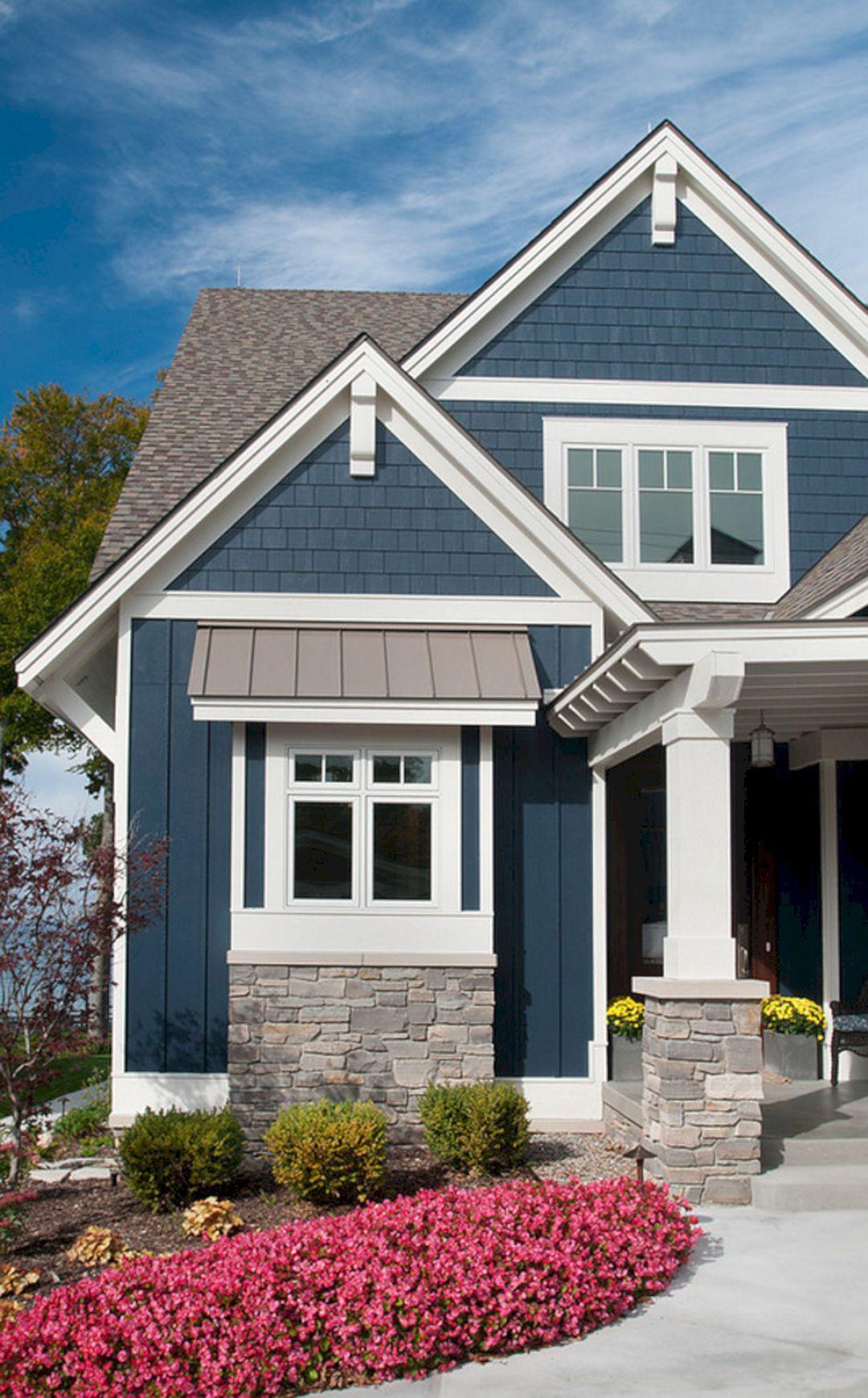 35 Beautiful Navy Blue And White Ideas For Home Exterior Color Freshouz Com Cottage Exterior Colors House Paint Exterior Cottage Exterior